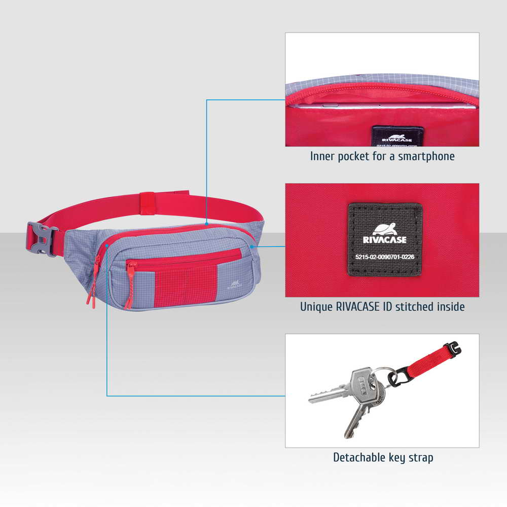 5215 grey/red Waist bag for mobile devices