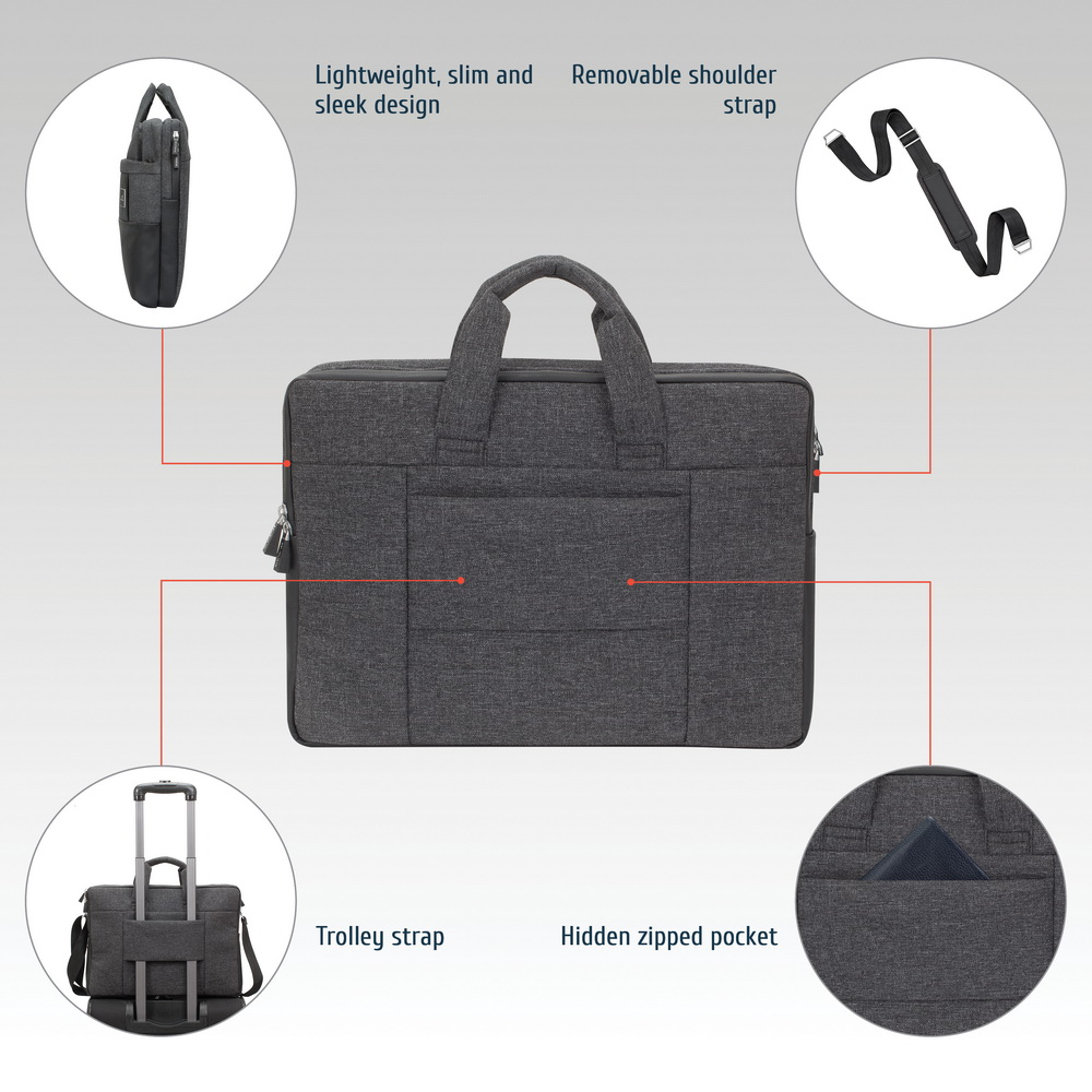 8831 black mélange MacBook Pro and Ultrabook bag 15.6