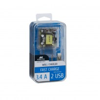 VA4123 TD1 EN wall charger (2 USB /3.4 A), with Micro USB cable