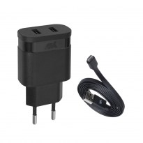 PS4123 BD1 wall charger black 3,4A/ 2USB, with Micro USB cable